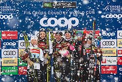 Maja Dahlqvist (SWE), Linn Svahn (SWE), Stina Nilsson (SWE), Jonna Sundling (SWE), Laurien Van Der Graaf (SUI), Nadine Faehndrich (SUI) celebrating after Ladies team sprint race at FIS Cross Country World Cup Planica 2019, on December 22, 2019 at Planica, Slovenia. Photo By Peter Podobnik / Sportida