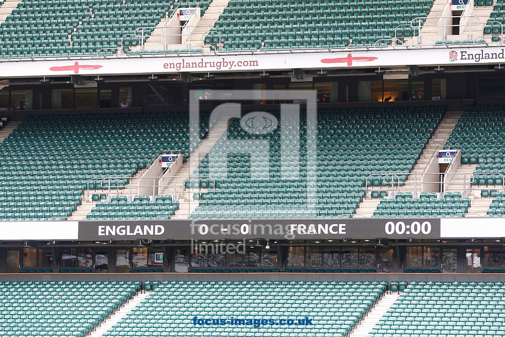 Twickenham stadium general view showing the scoreboard before the RBS 6 Nations match at Twickenham Stadium, Twickenham<br /> Picture by Andrew Tobin/Focus Images Ltd +44 7710 761829<br /> 21/03/2015