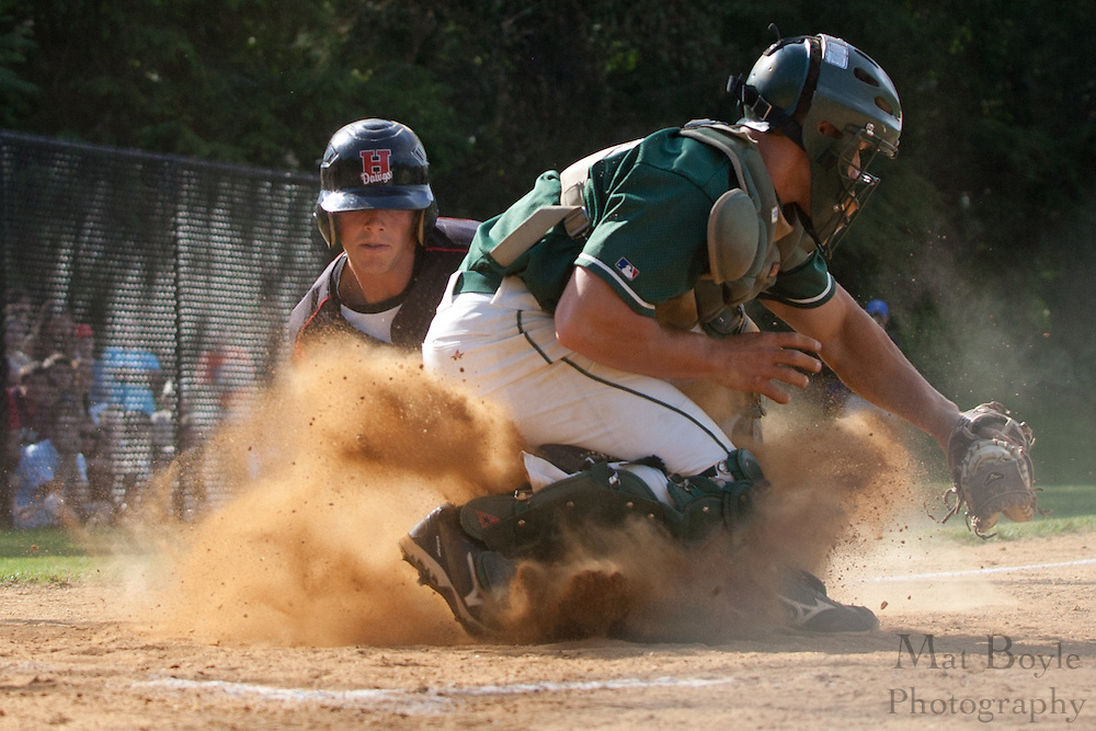 Haddonfield's Kevin Davis is out at home on a force out by catcher Brandon Thayres.
