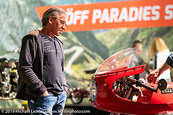 Checking out an Egli Honda in a display dedicated to a past golden age of Swiss manufactured motorcycles at the Swiss-Moto Customizing and Tuning Show. Zurich, Switzerland. Saturday, February 23, 2019. Photography ©2019 Michael Lichter.
