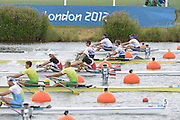 Eton Dorney, Windsor, Great Britain,..2012 London Olympic Regatta, Dorney Lake. Eton Rowing Centre, Berkshire[ Rowing]...Description;  Heat, Men's double Sculls: .Luka SPIK (b) , Iztok COP (s).LTU.M2X Rolandas MASCINSKAS (b) , Saulius .GBR M2X Bill LUCAS (b) , Sam TOWNSEND (s).NOR.M2X Nils Jakob HOFF (b) , Kjetil BORCH (s).FRA.M2X Julien BAHAIN (b) , Cedric BERREST (s).CAN M2X Michael BRAITHWAITE (b) , Kevin KOWALYK (s)..Dorney Lake. 12:30:03  Tuesday  31/07/2012.  [Mandatory Credit: Peter Spurrier/Intersport Images].Dorney Lake, Eton, Great Britain...Venue, Rowing, 2012 London Olympic Regatta...