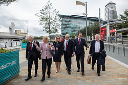 © Licensed to London News Pictures . 02/09/2019. Salford , UK. JEREMY CORBYN crosses Media City with members of the shadow cabinet including ANDREW GWYNNE , JOHN MCDONNELL , REBECCA LONG-BAILEY , ahead of a shadow cabinet meeting at The Lowry in Salford . Photo credit: Joel Goodman/LNP