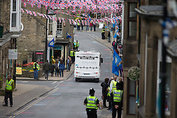 A Cylance Pro Cycling camper van drives through Pateley Bridge during the Tour de Yorkshire - a 122.5 km road race, between Tadcaster and Harrogate on April 29, 2017, in Yorkshire, United Kingdom.