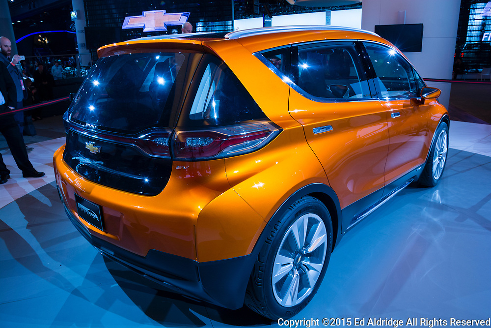 DETROIT, MI, USA - JANUARY 12, 2015: Chevrolet Bolt electric vehicle on display during the 2015 Detroit International Auto Show at the COBO Center in downtown Detroit.