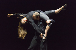 """© Licensed to London News Pictures. 09/06/2015. London, UK. Pictured: Damien Fournier and Jennifer White performing. Sidi Larbi Cherkaoui's contemporary tango production """"Milonga"""" returns to Sadler's Wells from 9 to 13 June 2015. Photo credit : Bettina Strenske/LNP"""