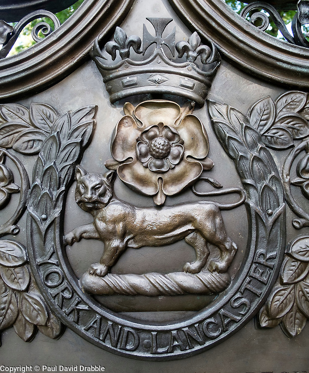 """York and Lancaster regimental badge on the War memorial in Sheffield Weston Park commemorating those who served and died in """"India. Nive. Peninsula. Arabia. Lucknow. New-Zealand Egypt 1882. Tel-el-Kebir. Egypt. 1884. South African campaign 1899-1902""""<br /> <br />   11 September 2016<br />   Copyright Paul David Drabble<br />   www.pauldaviddrabble.photoshelter.com"""