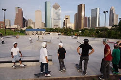 Group of kids at the Lee & Jo Jamail skatepark on the outskirts of downtown Houston