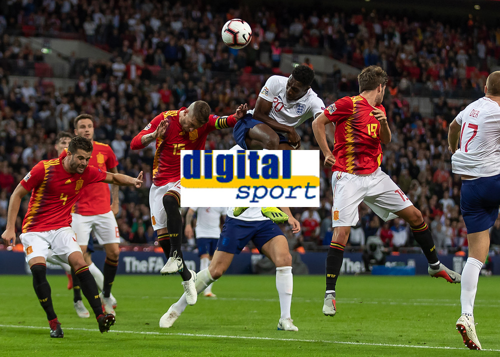 Football - 2018 / 2019 UEFA Nations League A - Group Four: England vs. Spain<br /> <br /> Danny Welbeck (England) gets a header in ahead of the spanish defence at Wembley Stadium.<br /> <br /> COLORSPORT/DANIEL BEARHAM
