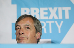 Brexit Party leader Nigel Farage in a rally at Featherstone Working Man's Club, while on the European Election in Pontefract, West Yorkshire. Picture dated: Monday May 13, 2019. Photo credit should read: Isabel Infantes / EMPICS Entertainment.