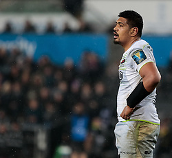 Saracens' Will Skelton<br /> <br /> Photographer Simon King/Replay Images<br /> <br /> European Rugby Champions Cup Round 5 - Ospreys v Saracens - Saturday 13th January 2018 - Liberty Stadium - Swansea<br /> <br /> World Copyright © Replay Images . All rights reserved. info@replayimages.co.uk - http://replayimages.co.uk