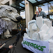 Emma Thompson, a staunch supporter of the Arctic and Greenpeace. Greenpeace and the giant polar bear Aurora outside Shell London HQ.  'Save the Arctic' is a long running campaign by Greenpeace targeting oil companies like Shell. Greenpeace wants oil exploration in the Arctic to stop and the giant polar bear Aurora has spend the past 4 weeks outside Shell's London HQ demanding Shell to stop drilling for oil. On Monday Sept 28 Shell announced they would stop drilling, a huge victory for Greenpeace and the environment movement.