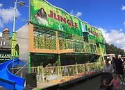 Jungle Falls fairground attraction in town centre street, Lowestoft, Suffolk, England, UK