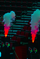 BLOOMINGTON, IL - September 28: Flames and smoke erupt from a pair of pillars during player introductions during a college Women's volleyball match between the ISU Redbirds and the Southern Illinois Salukis on September 28 2019 at Illinois State University in Normal, IL. (Photo by Alan Look)
