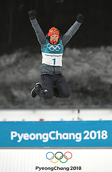 PYEONGCHANG, Feb. 12, 2018  Germany's Laura Dahlmeier celebrates during the venue ceremony of women's 10km pursuit event of biathlon at the 2018 PyeongChang Winter Olympic Games at Alpensia Biathlon Centre in PyeongChang, South Korea, on Feb. 12, 2018. Laura Dahlmeier claimed champion in a time of 30:35.3. (Credit Image: © Wang Haofei/Xinhua via ZUMA Wire)