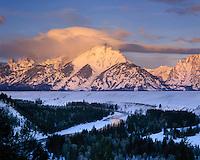 Winter sunrise over the Tetons and Snake River, Grand Teton National Park Wyoming USA