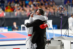 November 10, 2018 - Madrid, Madrid, Spain - Horne Jonathan (GER) win the gold medal and win the tournament of male Kumite 84+ Kg during the Finals of Karate World Championship celebrates in Wizink Center, Madrid, Spain, on November 10th, 2018. (Credit Image: © AFP7 via ZUMA Wire)