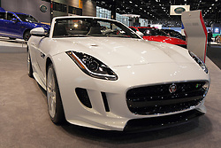 11 February 2016: 2016 Jaguar Type F convertible.<br /> <br /> First staged in 1901, the Chicago Auto Show is the largest auto show in North America and has been held more times than any other auto exposition on the continent.  It has been  presented by the Chicago Automobile Trade Association (CATA) since 1935.  It is held at McCormick Place, Chicago Illinois<br /> #CAS16