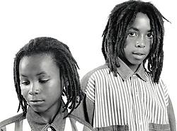 Portrait of two boys UK 1990s MR