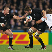 Sam Whitelock, New Zealand, in action during the New Zealand V France, Pool A match during the IRB Rugby World Cup tournament. Eden Park, Auckland, New Zealand, 24th September 2011. Photo Tim Clayton...