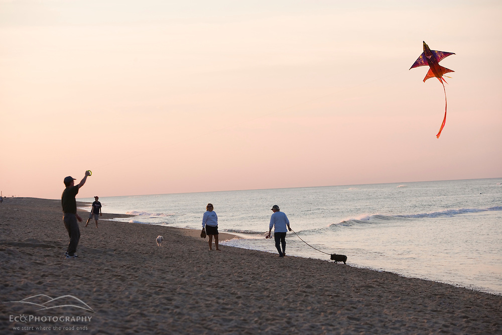Flying a kite on the beach at the Cape Cod National Seashore in Truro, Massachusetts.  Head of the Meadow Beach.