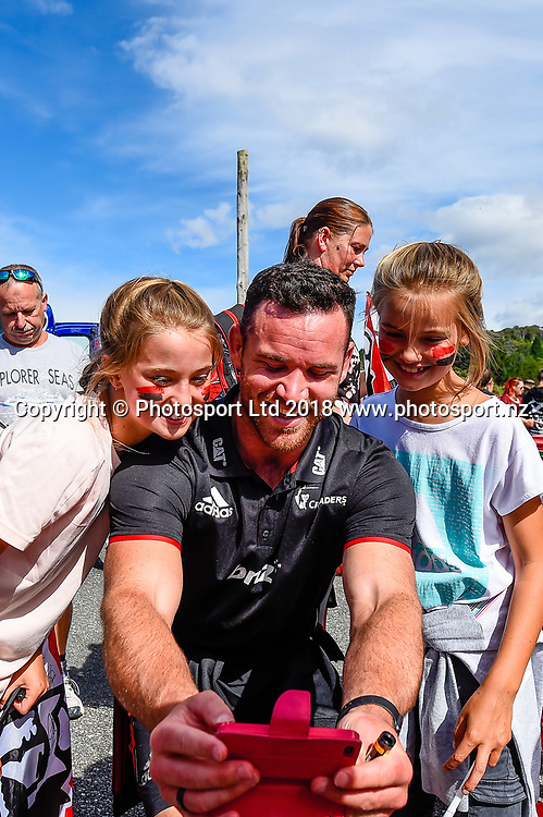Ryan Crotty with fans during the Preseason Super Rugby match Crusaders V Hurricanes, Rugby Park, Greymouth, New Zealand, 2nd Febuary 2018.Copyright photo: John Davidson / www.photosport.nz