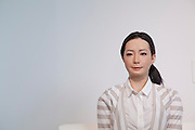 Otonaroid lifelike robot speaks to visitors at Miraiken Science Museum, Odaiba, Tokyo. Japan. Friday June 27th 2014. Created by Osaka robotics professor, Hiroshi Ishiguro the remotely-controlled android tests how people interact with people