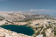 The view along the John Muir Trail overlooking Chief Lake, John Muir Wilderness, Sierra National Forest, Sierra Nevada Mountains, California, USA.