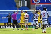 Barnsley's Michal Helik (30) is sent off during the EFL Sky Bet Championship match between Reading and Barnsley at the Madejski Stadium, Reading, England on 19 September 2020.