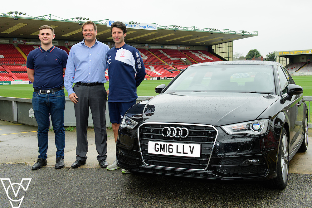 Lincoln City manager Danny Cowley has been presented with a new Audi A3 car thanks to sponsorship from Just Vehicle Solutions and Argentum Finance.  Pictured, from left, Jake Matthews (Just Vehicle Solutions), Mike Wells (Argentum Finance) and Danny Cowley (Lincoln City manager).<br /> <br /> Picture: Chris Vaughan/Chris Vaughan Photography<br /> Date: August 19, 2016