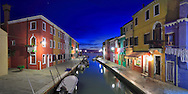 Taken almost one hour after sunset from a bridge in Burano, Venice. This is a stitch of 5 verticals.
