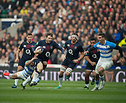 Twickenham, United Kingdom, Elliot DALY, on a run,before his red card, during the Old Mutual Wealth Series Rest Match: England vs Argentina, at the RFU Stadium, Twickenham, England, <br /> <br /> Saturday  26/11/2016<br /> <br /> [Mandatory Credit; Peter Spurrier/Intersport-images]