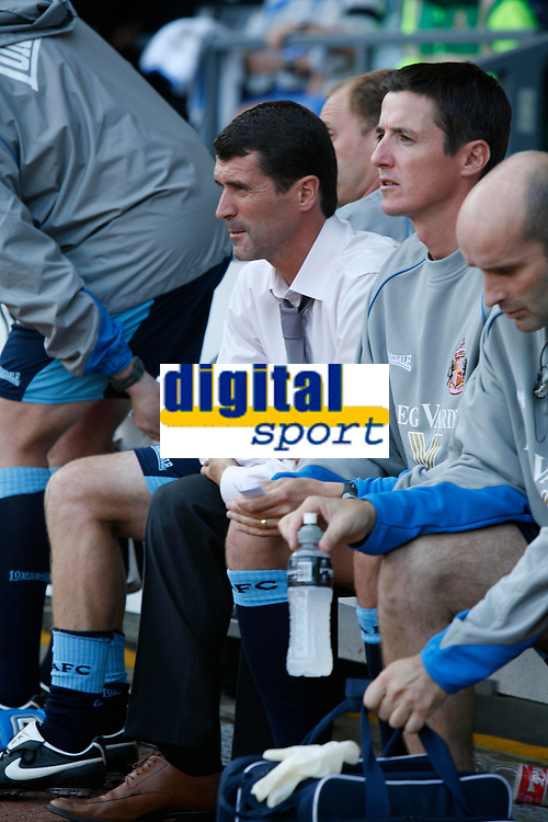 Roy Keane takes his place on the Sunderland bench for the match between Derby County & Sunderland