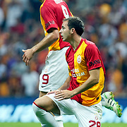 Galatasaray's Johan ELMANDER (L) and Bogdan Sorin STANCU (R) during their Friendly soccer match Galatasaray between Liverpool at the TT Arena at Arslantepe in Istanbul Turkey on Saturday 28 July 2011. Photo by TURKPIX