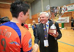 Matija Plesko and mayor of Nova Gorica Mirko Brulc at finals of Slovenian volleyball cup between OK ACH Volley and OK Salonit Anhovo Kanal, on December 27, 2008, in Nova Gorica, Slovenia. ACH Volley won 3:2.(Photo by Vid Ponikvar / SportIda).