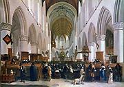 Interior of the Grote Kerk, Haarlem', 1673. Oil on oak. Gerrit Berckheyde (1638-1698) Dutch painter. Seated congregation listening to a sermon.  Architecture Gothic Netherlands Chandelier Brass
