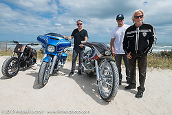Cory, Zach and Arlen Ness at High Tides restaurant in Flagler Beach north of Daytona during the Daytona Bike Week 75th Anniversary event. FL, USA. Monday March 7, 2016.  Photography ©2016 Michael Lichter.