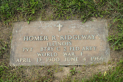 31 August 2017:   Veterans graves in Park Hill Cemetery in eastern McLean County.<br /> <br /> Homer R Ridgeway  Illinois  Private  BTRY C Field Artillery  World War I  April 13 1900   June 4 1966