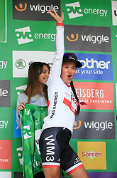 WM3 Pro Cycling's Katarzyna Niewiadoma celebrates winning Stage One of the Women's Tour of Britain from Daventry to Kettering.