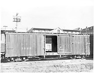 "Side view of box car #3000 at Durango.<br /> D&RGW  Durango, CO  Taken by Payne, Andy M. - 8/30/1959<br /> In book ""Narrow Gauge Pictorial, Vol. III: Gondolas, Boxcars and Flatcars of the D&RGW"" page 103<br /> Grandt's book attributes a date of 5/5/1970 to this photo."