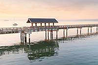 Taylor Dock Boardwalk during twilight afterglow, Boulevard Park Bellingham Washington