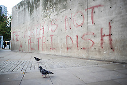 © Licensed to London News Pictures. 16/10/2020. Manchester, UK. Graffiti has appeared on a wall in Manchester Piccadilly Gardens that says 'THE NORTH IS NOT A PETRI DISH'. Photo credit: Kerry Elsworth/LNP