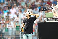 """14.06.2015, Gazi Stadion Rasenplatz, Stuttgart, GER, Das Spiel des Jahres, Sami Allstars vs Khediras Eleven, Benefizspiel, im Bild Cro singt ein Lied // during """"the Game of the Year"""" charity match between Sami-Allstars and. Khediras Eleven at the Gazi Stadion Rasenplatz in Stuttgart, Germany on 2015/06/14. EXPA Pictures © 2015, PhotoCredit: EXPA/ Eibner-Pressefoto/ Langer<br /> <br /> *****ATTENTION - OUT of GER*****"""