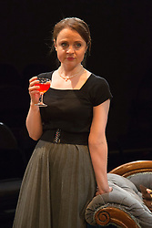 © Licensed to London News Pictures. 02/09/2015. London, UK. Pictured: Vicky Binns. World premiere of Hatched 'n' Dispatched, a black comedy set on one evening in 1959, opens at the Park Theatre in Finsbury Park. Written by Gemma Page & Michael Kirk, directed by Michael Kirk, the comedy stars Wendi Peters, Diana Vickers and Vicky Binns. Running from 1 to 26 September 2016. Photo credit : Bettina Strenske/LNP