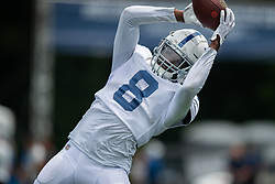 July 28, 2018 - Westfield, IN, U.S. - WESTFIELD, IN - JULY 28: Indianapolis Colts wide receiver Deon Cain (8) runs through a drill during the Indianapolis Colts training camp practice on July 28, 2018 at the Grand Park Sports Campus in Westfield, IN. (Photo by Zach Bolinger/Icon Sportswire) (Credit Image: © Zach Bolinger/Icon SMI via ZUMA Press)