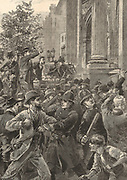 Reform of franchise: Police officers confronting Reform League demonstrators at Marble Arch, London,  and attempting to prevent them entering Hyde Park, 1866. Engraving c1880.