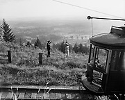 Y-490809-06.  Council Crest trolley on last run. Trolley 504 at Council Crest Park. August 9, 1949.