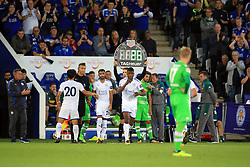 4 August 2017 -  Pre-Season Friendly - Leicester City v Borussia Monchengladbach - Leicester City manager Craig Shakespeare applauds as Kelechi Iheanacho comes on to make his debut - Photo: Marc Atkins / Offside.