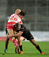 Rugby League - 2020 Betfair Super League - Semi-final - St Helens vs Catalan Dragons - TW Stadium<br /> <br /> St. Helens's James Bentley is tackled <br /> <br /> COLORSPORT/TERRY DONNELLY