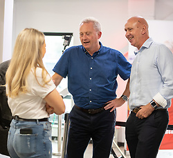 CARDIFF, WALES - Monday, August 19, 2019: FAW's head of public affairs Ian Gwyn Hughes (R) during the launch event for the Be.Football campaign at the Wales women's squad annoucement ahead of the UEFA Women Euro 2021 qualifying Group C games against Faroe Islands and Northern Ireland at Orchard HQ. (Pic by Kunjan Malde/Propaganda)