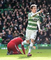 01/03/15 SCOTTISH PREMIERSHIP<br /> CELTIC v ABERDEEN<br /> CELTIC PARK - GLASGOW<br /> Joy for Celtic goalscorer Stefan Johansen